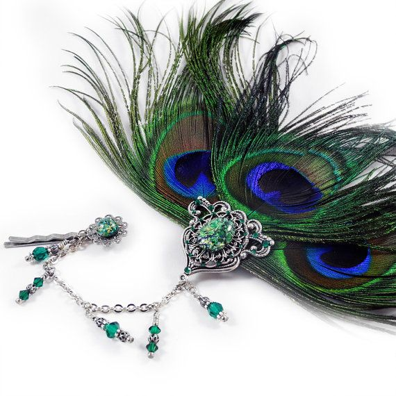 Exquisite Headdress or Fascinator with Peacock Feathers, for Steampunk, Weddings, LARP.... CHF28.00, via Etsy.