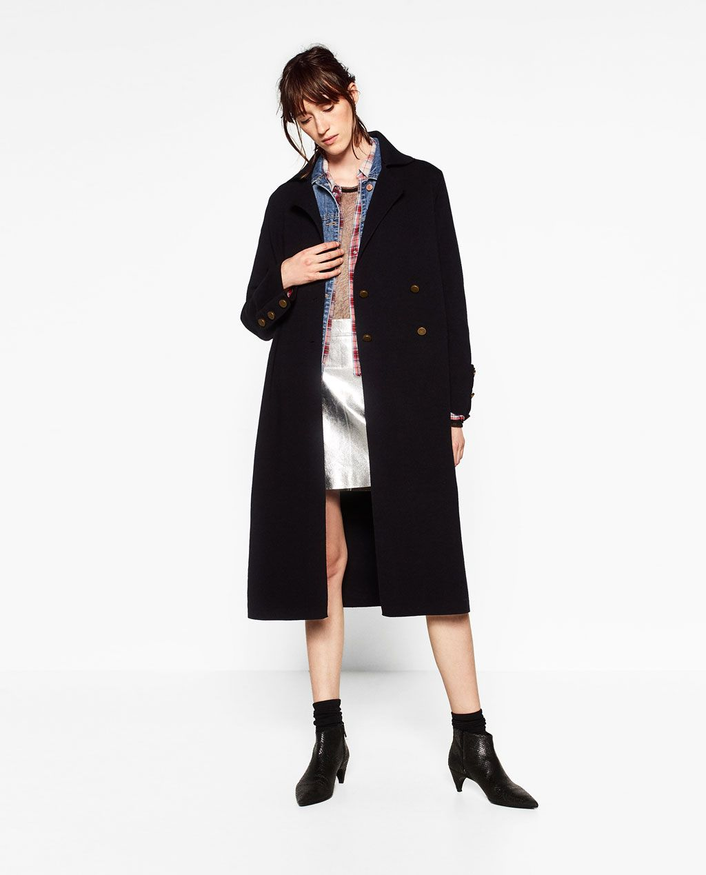 Long manteau noir femme zara