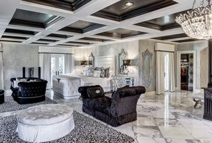 Art Deco Master Bedroom with Brewster Kenneth James Ambrosia Glitter Damask Wallpaper, complex granite tile floors, Carpet