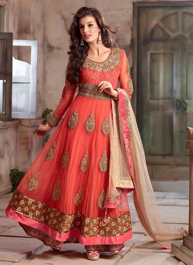 Red heavy bridal anarkali frock 7 suitanarkali in - Pretty Peach Net Ankle Length Anarkali Suit