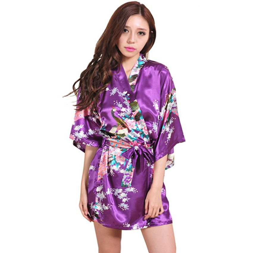Purple Women\'s Bathrobe Chinese Peacock Robe Short Night Gown Silk ...