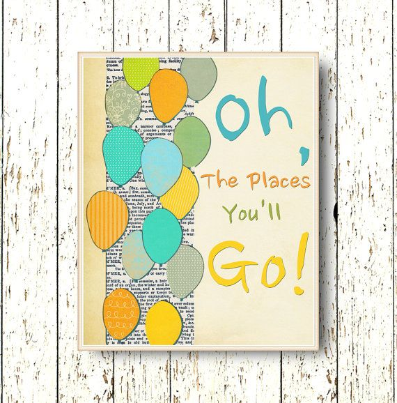 Oh, the Places you\'ll Go! Dr Seuss - Kids wall art - blue green ...