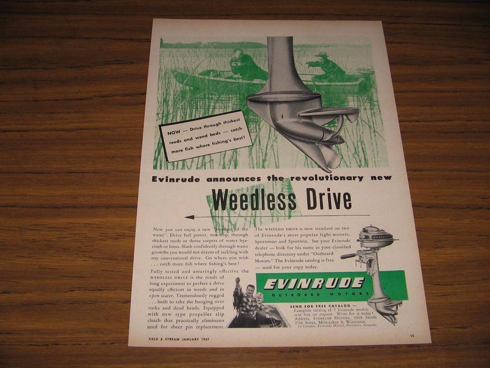 1947 Print Ad Evinrude Outboard Motors Weedless Drive 2 Men
