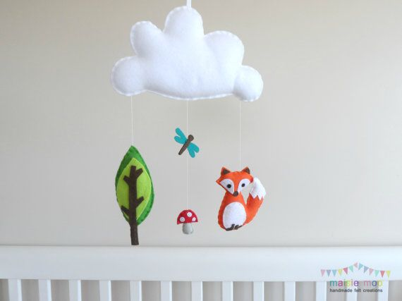 The Curious Fox A Woodland Scene Mobile Or Wall Hanging