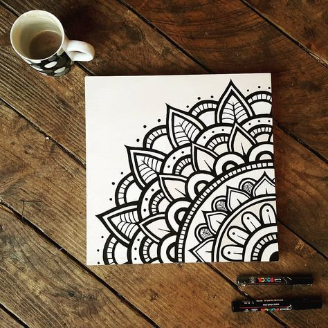 Flawless black and white mandala drawing with markers on canvas #mandala