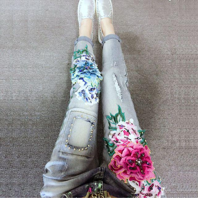 2017 Moda Mujer Casual Flaco Pantalones Rebordear Bordado Flores ...