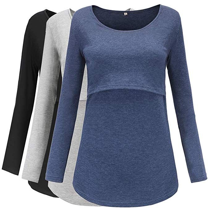 Smallshow Womens Maternity Tops 3//4 Sleeve Tunic Pregnancy Clothes Shirt 3-Pack