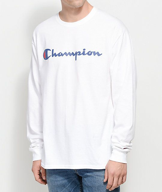 066699f3 Champion Patriotic Script White Long Sleeve T-Shirt | CHAMPION ...