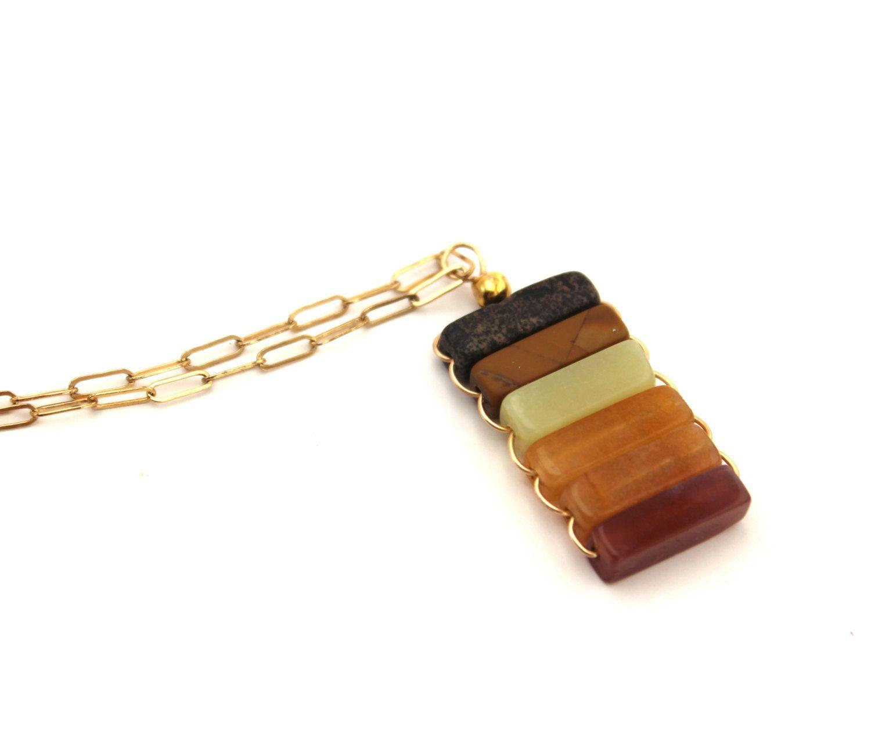Diane- Color Block Pendant Necklace. $54.00, via Etsy.