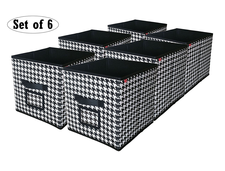 Amazon Com Cube Foldable Storage Bin With Label Window Black And