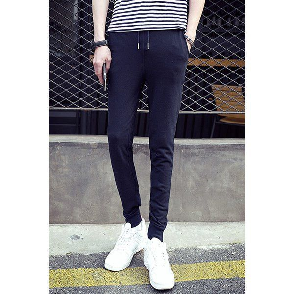 Colorful Stripes Pattern Lace-Up Slimming Jogger Pants For Men