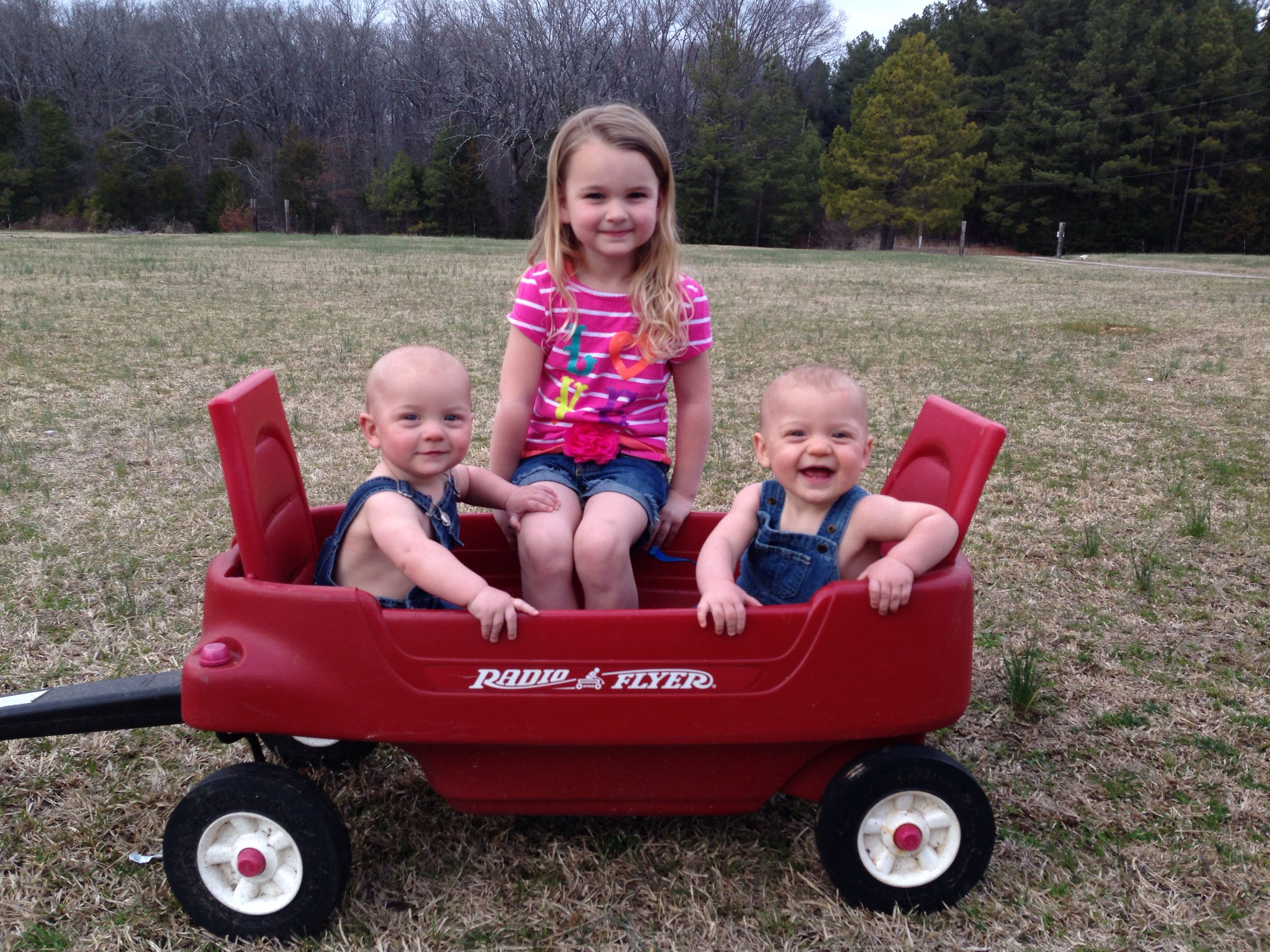 My 8 month old twin boys Silas & Swayze and their big sister Alli