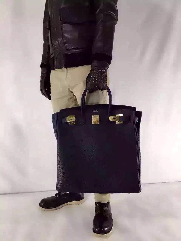 7682da65b496 Hermes HAC Black Haut a Courroies Togo Bag 40cm with Golden Hard Ware for  sale at