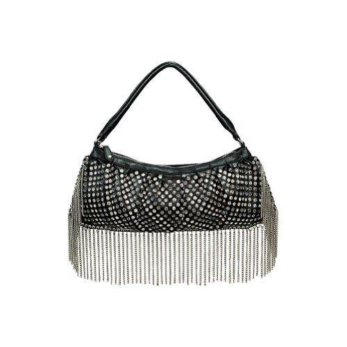 Blue Elegance Metal Fringe Black Handbag Crystal Studded Rocker Bag Love