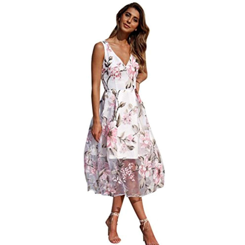 Women S Floral Dress E Scenery V Neck Sleeveless Long Maxi Dresses Details Can Be Foun Womens Floral Dress Boho Wedding Guest Dress Wedding Guest Dresses Uk