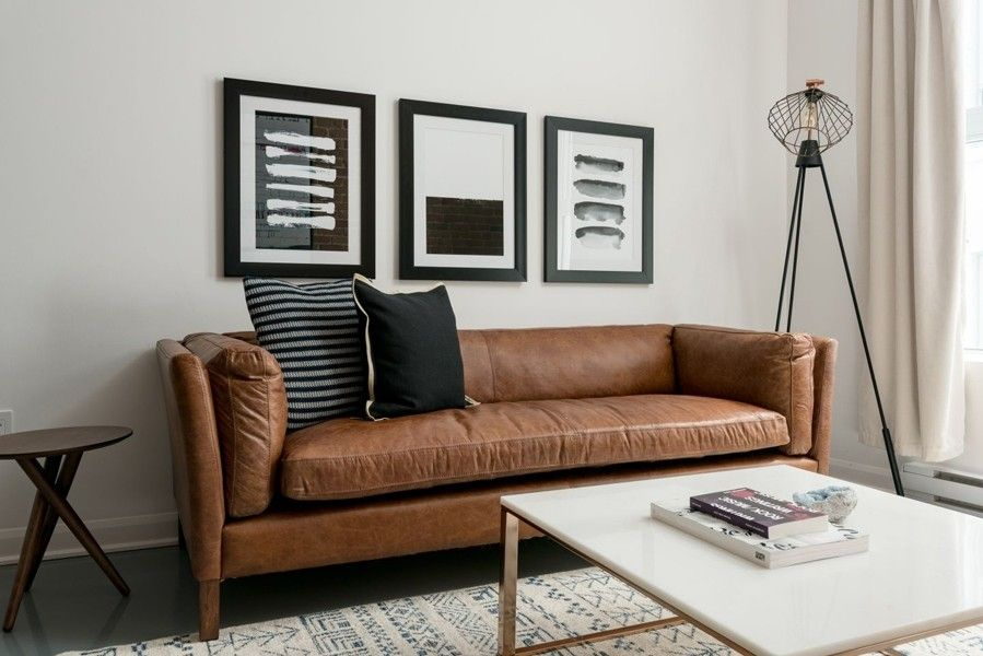 Awesome Finley Leather Sofa Family Room Den Tv Room Leather Inzonedesignstudio Interior Chair Design Inzonedesignstudiocom