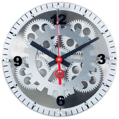 Large Moving Gear Wall Clock Spiral Bezel