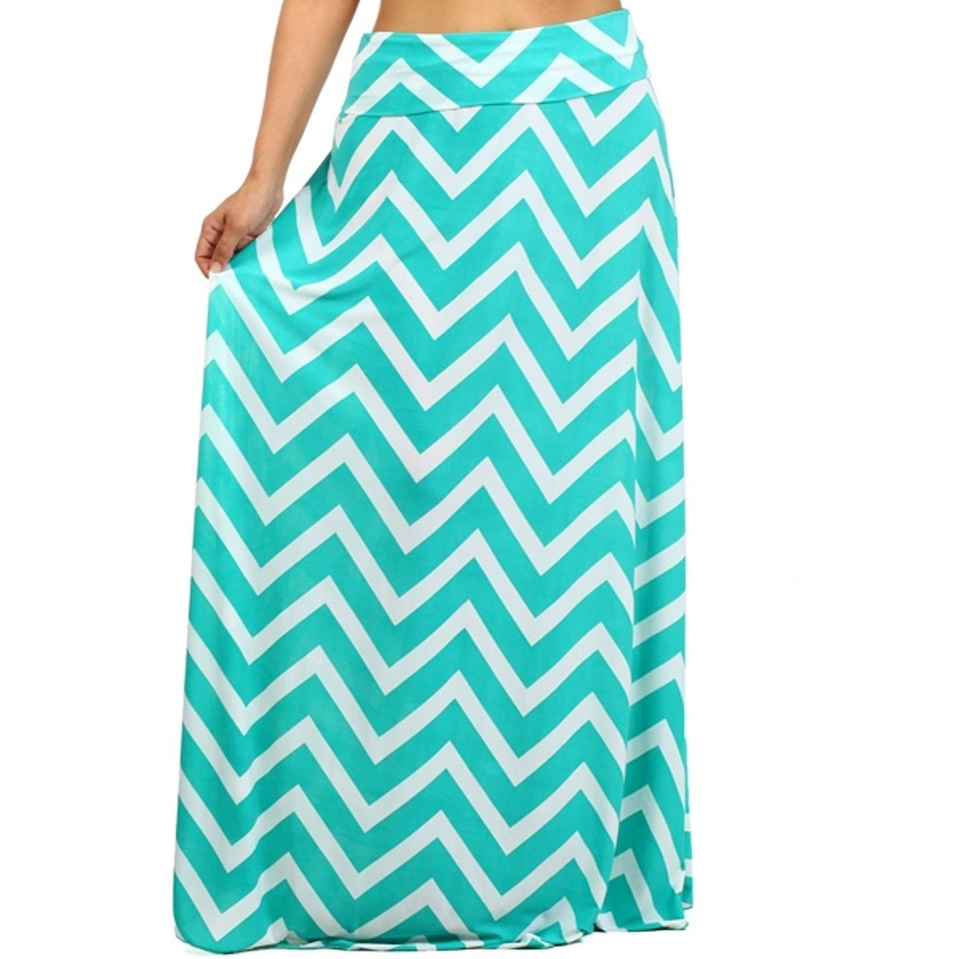 Calixa Chevron Zigzag Print Maxi Skirt -Plus Size by Fashions For Divas