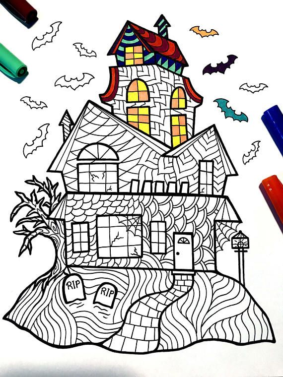 Haunted House PDF Zentangle Coloring Page Coloring