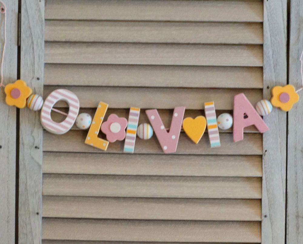Kinderzimmer Shabby Chic namenskette shabby chic holzbuchstaben taufe deko name