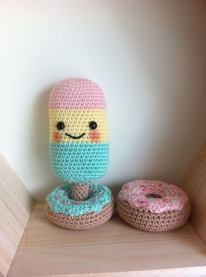 Crochet donuts and ice-cream / gehaakte donuts en ijsjes door ...