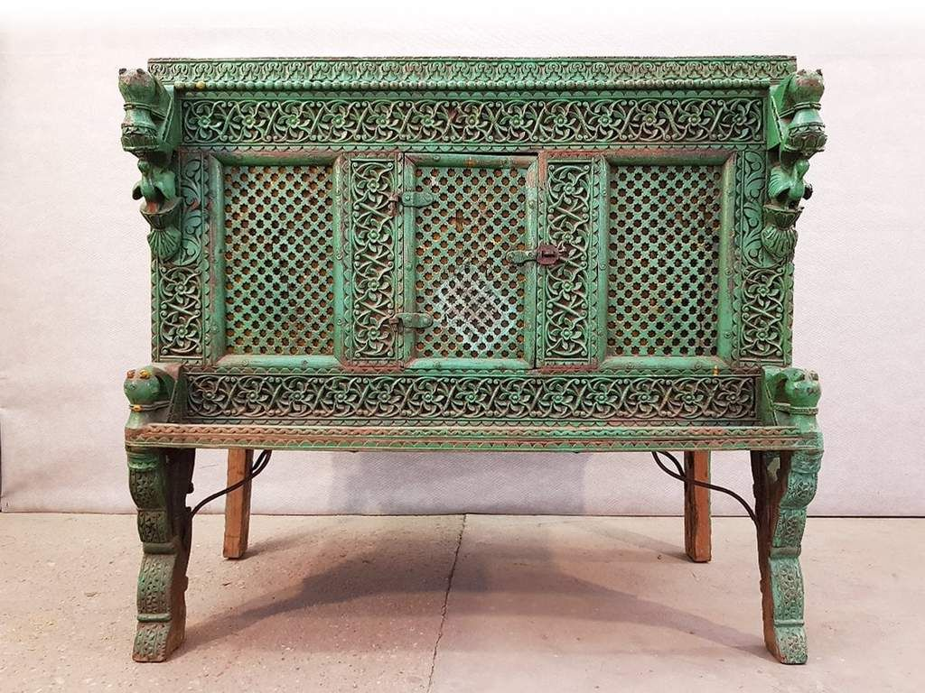 Large Indian Antique Teak And Iron Turquoise Damchiya Dowry Ornate Chest Circa 1850 Indonesian Furniture Painting Wooden Furniture Furniture