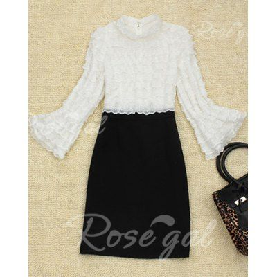 Slimming Color Block Long Flare Sleeve Round Collar Women's Dress