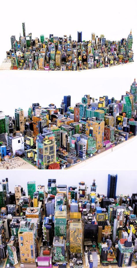 Teen Spends 3 Months Building Scale Model of Manhattan From Recycled Computer Parts