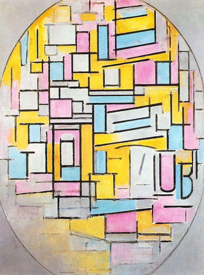 몬드리안,   < Composition with Oval in Color Planes II > , 1914 ---    사각형으로만 이루어져있던 앞의   몬드리안 작품과는 다르게, 이 작품에서 몬드리안은 전체적인 형태를   타원으로 잡고, 그 안에 사각형을 그려 넣었다. 그런데 이 사각형들 역시 앞의 그림보다 더 자유분방하고 틀이나 규칙 없이 배열되었고, 둥근 모서리를 가지는 도형들도 중간 중간에 위치시킴과 동시에, 색깔도 파스텔 톤을 사용함으로써 한층 더 부드러운 감정을 드러내었다.