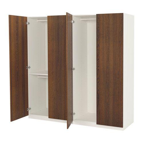 PAX Wardrobe White nexus brown stained ash veneer 200x60x201 cm