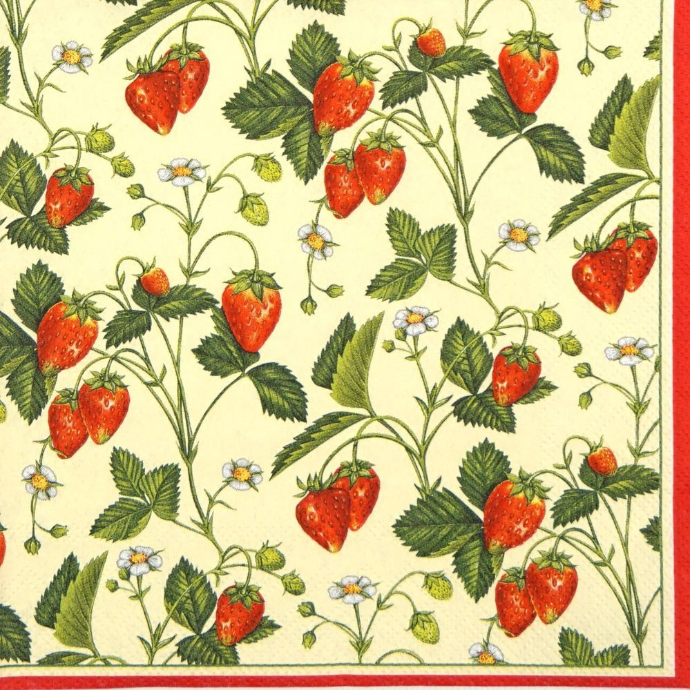 4 Single Party Paper Napkins for Decoupage Decopatch Craft Vintage Strawberry