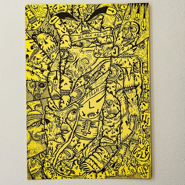 Punk Art Outsider Art Ink Drawing On Paper Yellow Hand drawn Poster ...