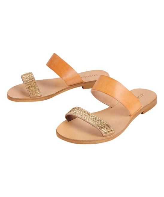 Gold Leather Slide Sandal