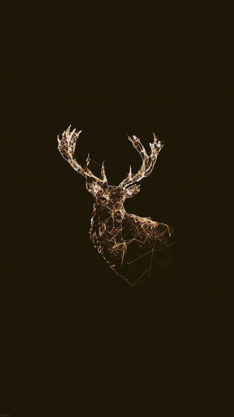 Golden Deer Polygon Illustration Iphone 6 Wallpaper Afro Sanat