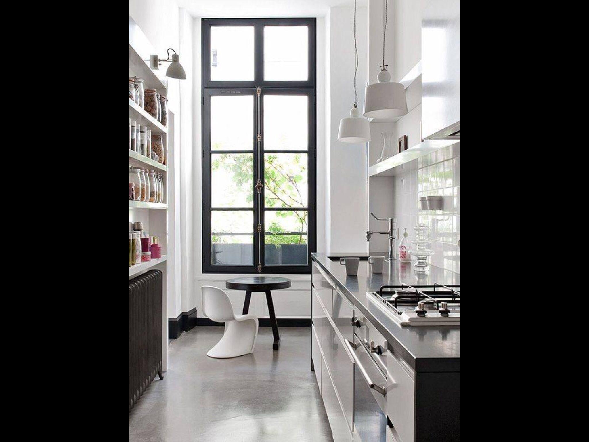 Whiteblack Galley Kitchen Of Anne Geistorfers Paris Home Love The
