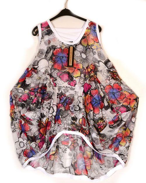 Kamuflage Fantabulous Flower & Schmetterling Chiffon Tunika-Kleid ...