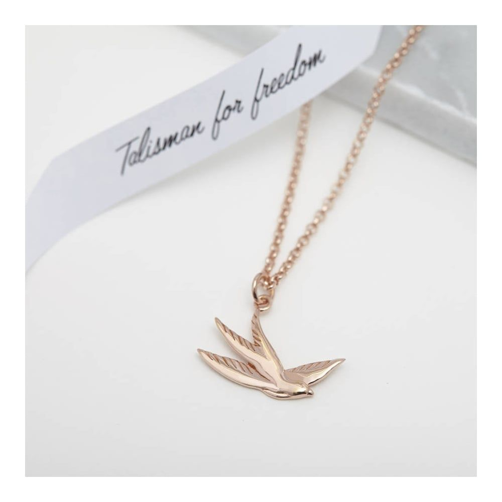 986eb97efd85e FREEDOM Swallow Necklace Rose Gold - Necklaces from Muru Jewellery ...