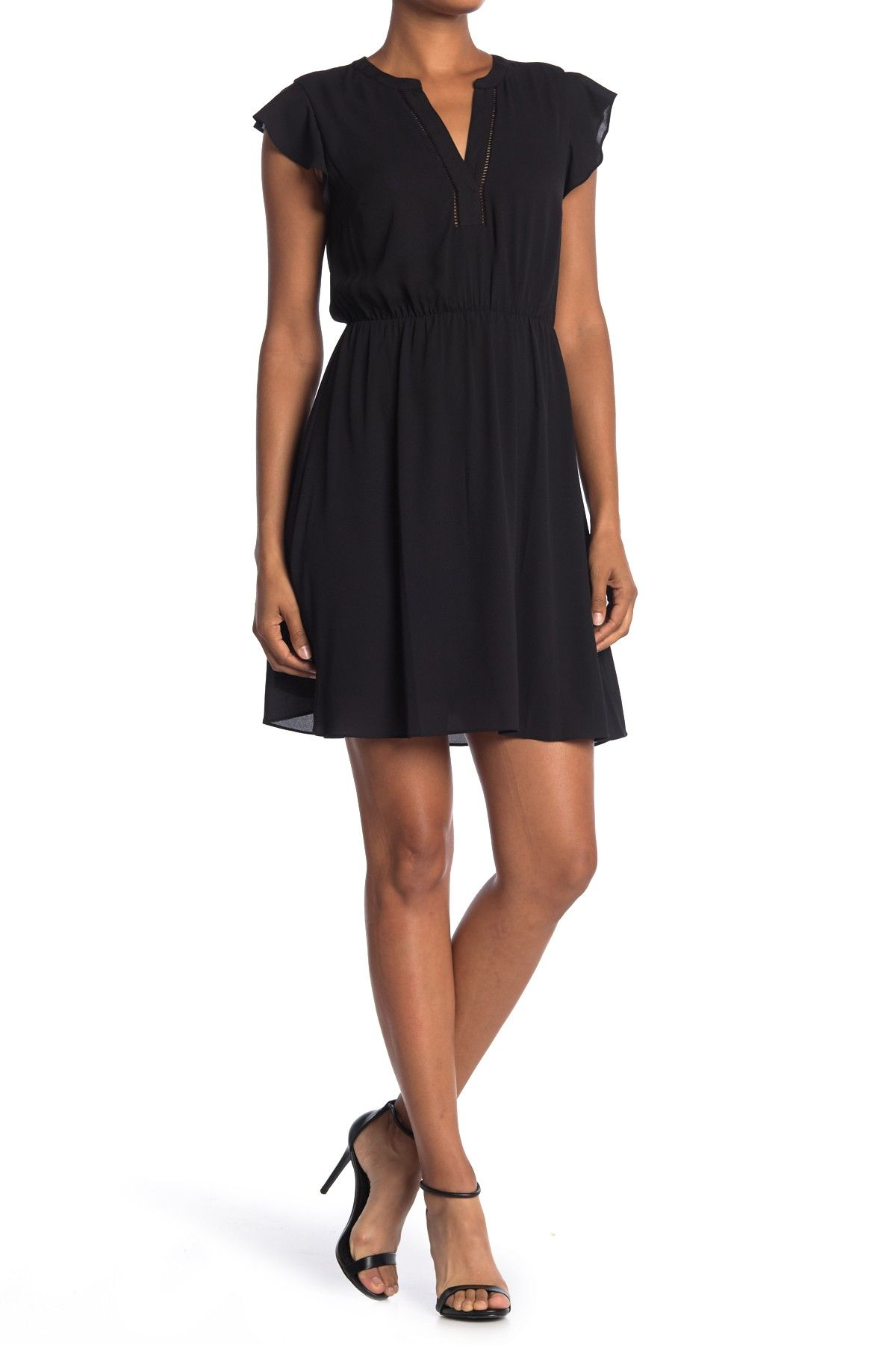 Ruffle Sleeve Split Neck Mini Dress by Collective Concepts on @nordstrom_rack
