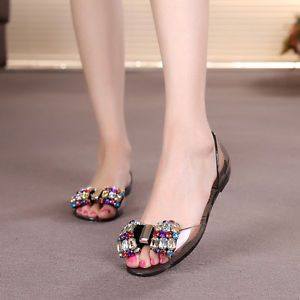 dfb18c2699948f Fashion Women Rhinestone Bow Summer Beach Shoe Clear Flat Jelly Sandals  Peep Toe