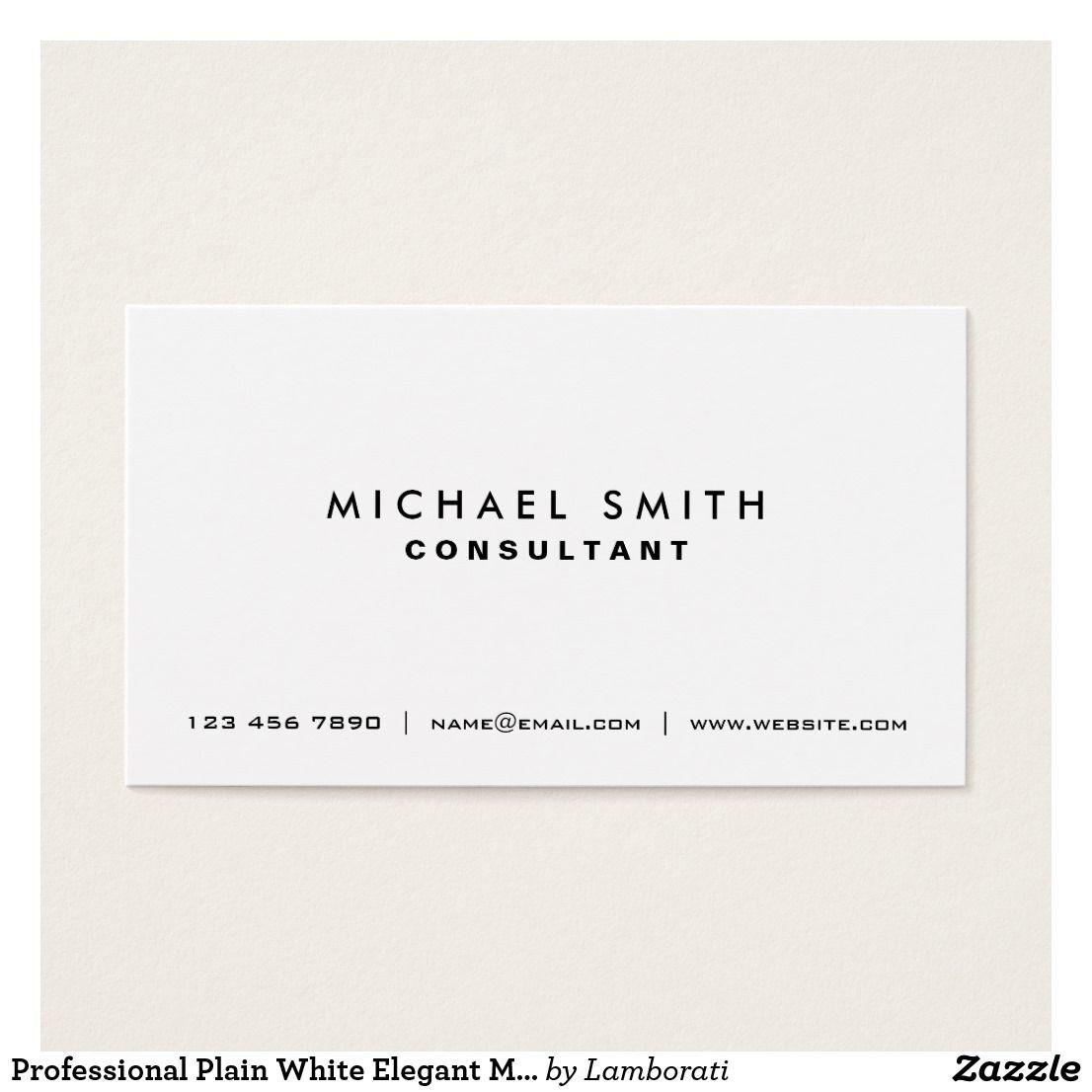 Professional Plain White Elegant Modern Simple Business Card Zazzle Com Simple Business Cards Modern Business Cards Elegant Business Cards