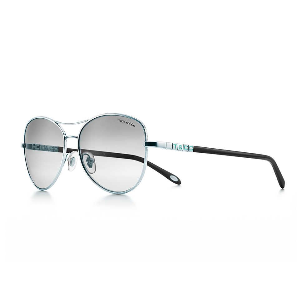 5cd146a9bb32 Tiffany Era aviator sunglasses in silver-colored metal and black acetate.