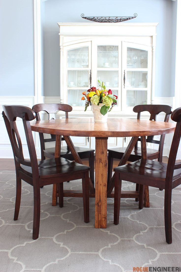 Round Trestle Dining Table Round Trestle Dining Table - Free DIY Plans  |