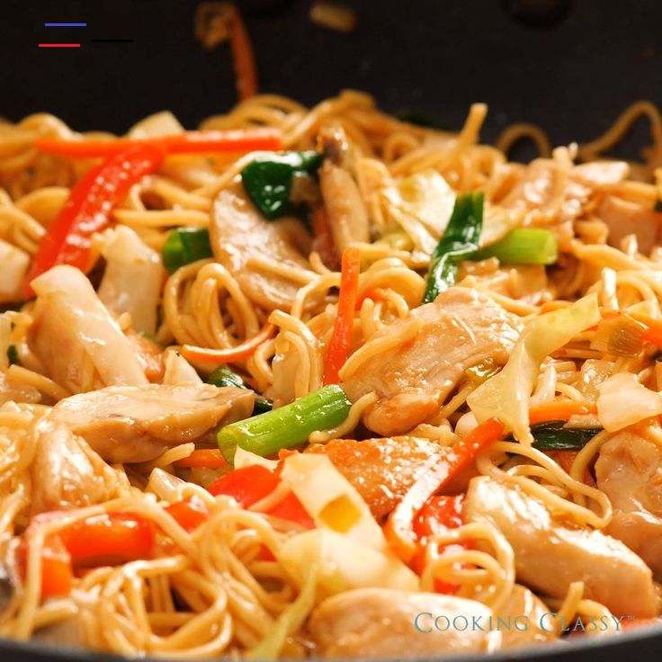 CHICKEN YAKISOBA Loaded with tender noodles, protein rich chicken, nutritious veggies and all tossed with a flavorful sauce! An easy, flavorful dinner everyone in the family can agree on. #yakisoba #chicken #vegetables<br>