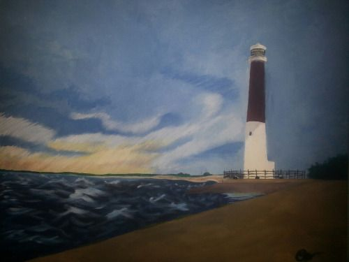 Barney By Samantha Brown  Acrylic on Canvas Commission of the Barnegat Lighthouse in NJ