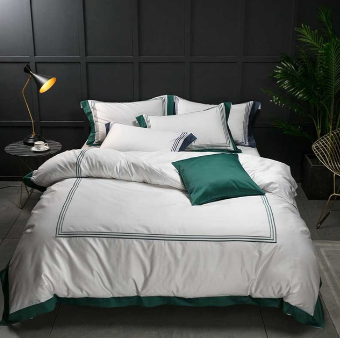 Mayfair White Emerald Green 1000 Thread Count Egyptian Cotton Bed Linen Set Bed Linen Sets Cotton Bedding Sets Bed Linens Luxury