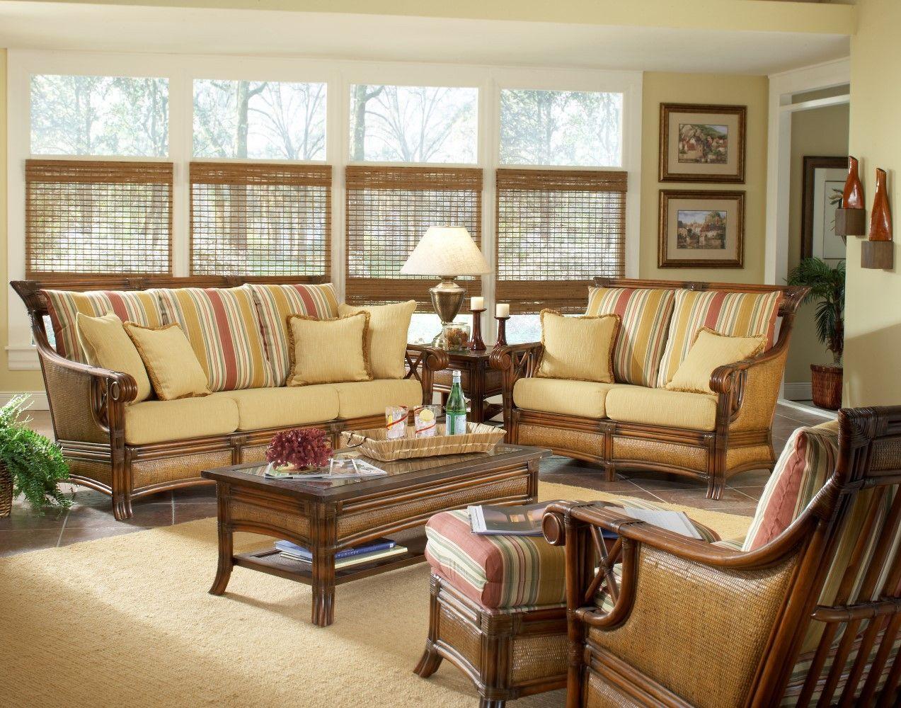 South Sea Rattan Pacifica Indoor Wicker Living Room Set Wicker