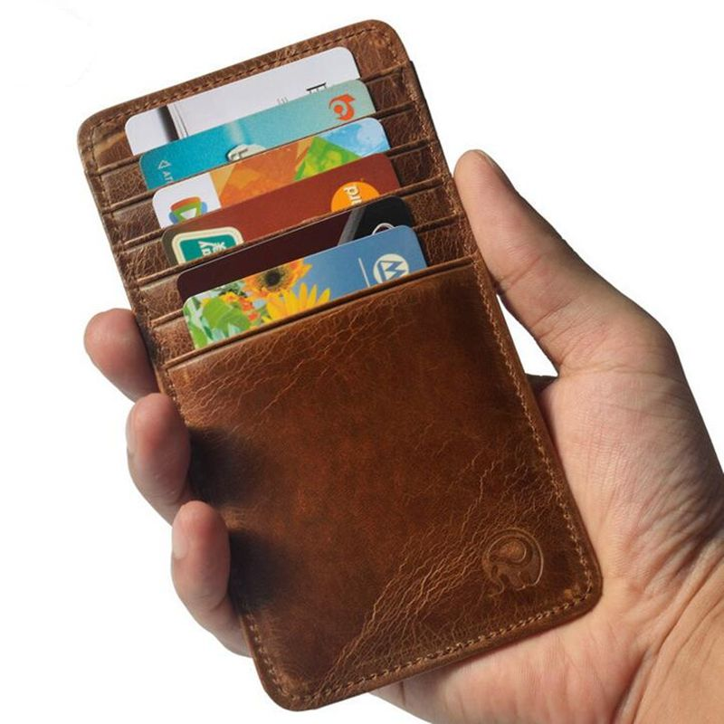 Vintage 100% Genuine Cow Leather Credit Card Holder Coin Purse Men ...