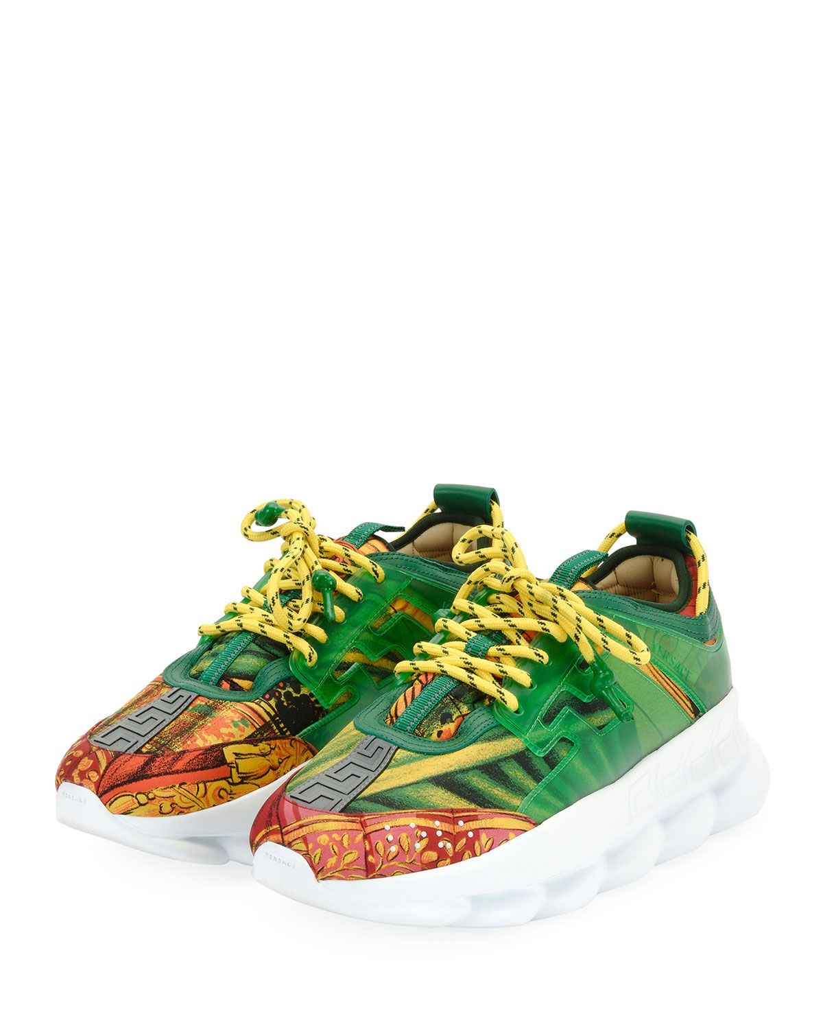 c77cf9fd06e VERSACE MEN S CHAIN REACTION GREEK KEY-PRINT SNEAKER.  versace  shoes