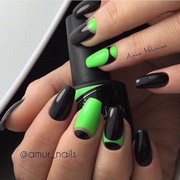 Pin By Sunshine R On Nail Art Green Nail Designs Neon Green Nails Black Nail Designs