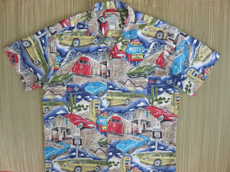 e6dd0be0 Route 66 Hawaiian Shirt PARADISE FOUND Chevy Corvette Road Trip Vintage 80s  California Style Car Shirt Mens - L - Oahu Lew's Shirt Shack by ...